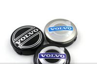 ruedas volvo al por mayor-3 colores 4 unids 64 mm volvo centro tapas de la rueda cubierta del cubo insignia emblema del coche negro / gris / azul C30 C70 S40 V50 S60 V60 V70 S80 XC90