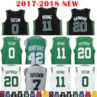 Wholesale Browns Jerseys - 2017-18 New 11 Kyrie Irving 7 Jaylen Brown Jersey Men's 2018 20 Gordon Hayward 42 Al Horford 0 Jayson Tatum Black Jerseys Embroidery