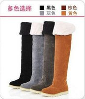 Wholesale Wholesale Thigh Boots - New Women's Suede Flat Boots Winter Thigh High Boots  Over The Knee Boots Shoes 4 colors for choose
