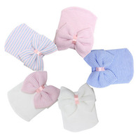 Wholesale Winter Baby Showers - Newborn Hospital Hat Wholesale Blanks Beanie with Bow Infant Hat Baby Shower Gift Free Shipping Via FedEx DOM106233