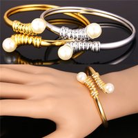 Wholesale Option Cuffs - U7 Pearl Jewelry Bangles Two Options 18K Real Gold  Platinum Plated Fashion Jewelry Accessories Bracelets For Women Perfect Gift