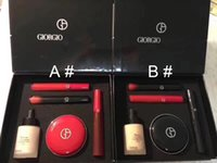 Wholesale Italy Oil - Top Quality!Italy Brand Makeup GIORGIO Maestro Fusion makeup & red and black tube lipgloss & Air Cushiom & Black mascara 5in1 Set DHL