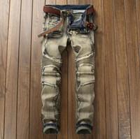 ingrosso decorazioni straniere-I jeans locomotivi del popolare di commercio estero dei jeans di tendenza di retro colore di colore fanno la vecchia decorazione della chiusura lampo