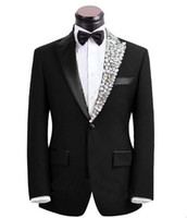 Wholesale Men Dark Red Suits - 2017 newest Groom costume rhinestone adornment men slim suits formal occasion business suit wedding party suits jacket+pants