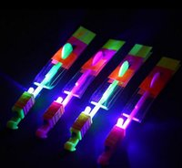 Wholesale lighted slingshot helicopter - Amazing Children Toys LED Lighting Flying Arrow Helicopter for Sports Funny Slingshot birthday party supplies Kids' Gift DHL Free Ship
