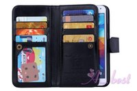 Wholesale Hard Plastic Id Case - ePacket. For Galaxy S5 Leather Case 2in1 Detachable Magnetic Leather Hard Case 9 Card Slots ID For Samsung i9600 S5 Leather Wallet