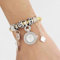 kuvartz boncuk saat toptan satış-Kuvars İzle Gümüş Örgülü PU Deri Band İzle ile Boncuk Charms Kolye Bilezikler Kadınlar için İzle Elbise Saatler Kol Saatleri