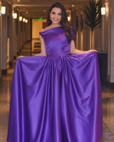 Wholesale Violet Pink Prom Dresses - 2017 Violet A-Line Evening Dresses with Asymmetry Portrait Neckline Sleeveless Floor Length Carmen Soliman Simple Party Prom Gowns