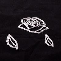 Wholesale Rose Paper Cut - Rose Floral Leaf Metal Cutting Dies Stencil for DIY Scrapbooking Embossing Album Paper Card Craft DC-197