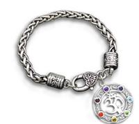 ingrosso fascini galleggianti braccialetti di cuore-Spedizione gratuita OM Yoga Religioso Cuore Bracciale Lega Metallo Galleggiante 7 Crystal Chakra Pendente Charms Bracciali Gioielli Retrò