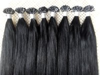 Wholesale Indian Remy Hair Free Shipping - Free Shipping 100g 16-26inch #1 Jet Black Keratin Prebonded Nail U tip Hair Extensions Silk Straight Brazilian Indian Remy Hair