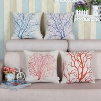 Wholesale Knitted Cushion Cover For Beds - Wholesale- Pillow Case New Tree Shaped Pillow Cover Cotton Linen Coral Tree Cushion Case Waist Throw Pillowslip For Home Bed Seat Back Hom