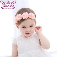 Wholesale Hair Bandage - Nishine Baby Hairband Chiffon Flower Headband Bandage Lace Girls Hairpiece Child Hair Accessory Party Christmas Gift