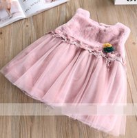 Wholesale Tutu Plush - 2017 Autumn Winter Baby Girls Dresses Flower Plush Splice gauze sundress Children Clothing 319597