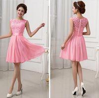 Wholesale Elegant Formal Brides Maids Dresses - Hot sales Vestidos de Fiesta Pink White Chiffon Short Formal Prom Gowns Back Lace Evening Dress Elegant Bridesmaid Dress Brides Maid Dress
