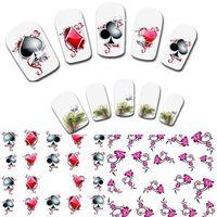 Wholesale Toe Nail Art Wraps - 30sheets New Nail Art Mixed Bows Poker Tips Decals 3D Nail Stickers Nails Toes Wraps Tattoo Accessories Nail Tools XF1356-1371