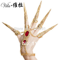 Wholesale India Bollywood - India Dancewear Bollywood Fingernail Accessories Thousands Hands Guanyin Dance Bracelets Gold Indian Jewelry Bracelets