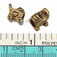 Wholesale Pandora Carriage - Pandora Beads Charms For DIY Snake Chains Bracelets Retro Silver Baby Carriage Heart Loose Large Hole Metal Jewelry Findings 10*9*8mm 100pcs