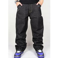 Wholesale Baggy Jeans Fashion - Wholesale-mens baggy jeans male embroidery denim loose hip hop jeans man's fashion full length plus size 30-44