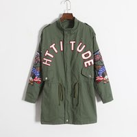 Wholesale Green Short Trench Coat - Wholesale-Female Handsome Coat Rivet Embroidery Eagle Letter Print Loose Casual Clothes Outerwear Army Green Short Trench