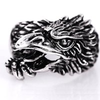 Wholesale Vintage Settings For Engagement Rings - Punk Eagle Ring Brand New Fashion Antique Silver Ring Punk Skull Biker Vintage Stainless Steel Butterfly Shape Rings For Men STR009
