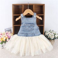 Wholesale Lace Denim Toddler Dress - Kids Baby Girls Toddler dress Summer Overalls Denim Frilly PLEATED lace Tutu Dress 6M-4Y patchwork Outfits free shipping