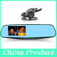 Wholesale Dvr Separate - 4.3inch 1080P Dual Lens Car DVR Blue Mirror Full HD H.264 120Angle View Separated Rear camera Gsensor dvr mirror hd 010226