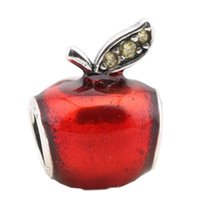Wholesale apple pandora charms for sale - Sterling Silver Charms Ale Red Apple Rhinestone Charms for Pandora Bracelets DIY Beads Christmas Accessories