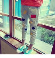 Wholesale Dot Funding - South Korean children children of new fund of 2015 autumn girl torn denim trousers Color dot children's pants BH1220