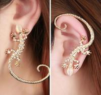 Wholesale Clip Earrings Accessories - Accessories New Fashion lizard stud earrings Silver gold Color gekkonidae hot-selling earrings Punk Rock Crystal Jewelry