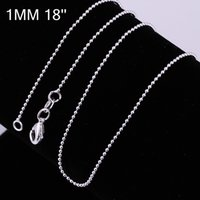 Wholesale 18 Inch Alloy Chain - Wholesale New Fashion 925 Silver Beautiful Necklaces 1mm 18 inch beads Necklace chains 925 Sterling Silver Jewelry C004