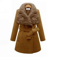 Wholesale Cheap Big Coats - CAF208- NEW CHEAP Quality Winter Wool Coat Women with Big Rabit Fur Collar Elegant Oversized Winter Camel Coat