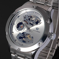 Wholesale Automatic Mechanical Skeleton - OUYAWEI Skeleton Silver Mens Watches Self winding Mechanical Automatic Stainless Steel Band Wristwatch