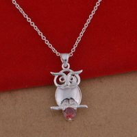 Pendant Necklaces owl necklace korean - Trade jewelry sterling silver necklaces crystal necklace Korean version of the popular owl of cash