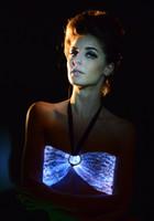 Wholesale Led Bra Costume - Belly Dance Sexy Black Professional Dance Bra LED Sexy Bra Tops Costumes Optic Fiber Colorful Clubwear Backless Luminous LED Bra