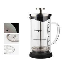 filtro de vidro teapot venda por atacado-Com Escala de Grau de Chá Infusor Para Casa Tipo de Pressão do Filtro Bule Claro Espessamento De Vidro De Café Imprensa Pot Pote 29fy B