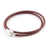 Wholesale Wholesale Leather Bracelets For Beads - Double Row Red Brown Genuine Leather Summer Style Bracelet Chain Bracelets For Chamilia Charms DIY Metal Alloy Glass European Big Hole Beads