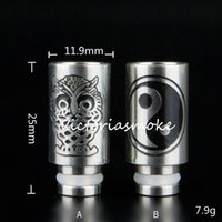 Wholesale Ego Carved - Carving Owl & Yi studies 510 Stainless steel Drip Tips wide bore Drip Tip for 510 EGO E Cig Tanks Protank Atomizer Mouthpieces