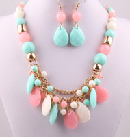 Wholesale Candy Color Collar Necklace - New Resin fashion Candy Color acrylic beads Party gold chain lady Dress Necklace earring jewerly set for Women Free Shipping