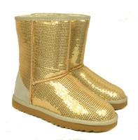 Wholesale Women Silver Wedge Shoes - Women Fashion glitter sequins Snow Boots BOOT Winter Shoes Black Blue purple golden Silver 6colors 5-10 size
