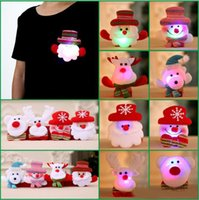 Wholesale Toy Bear Feet - High Quality LED Christmas Brooches Snow man Santa Claus Elk Bear Pins Badge Light Up Brooch Christmas Gift Party decoration Kids Toy