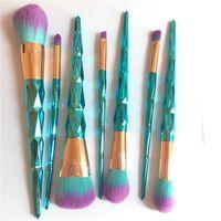 color azul polvo al por mayor-7 unids / set Azul Color Diamond Pinceles de Maquillaje Set Maquillaje Profesional Pinceles Herramientas de Maquillaje Para Sombra de ojos Cejas Eyeliner Powder Brushes