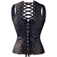 Wholesale steel corset dress - Black Spiral Steel Boned Steampunk Overbust Corset Bustier Top Dress SEXY G-string Lingerie Women Corsets Plus