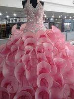 vestido de baile de finalistas venda por atacado-Custom Made Cristal Talão Lantejoulas Ruffles Quinceanera Vestidos Rosa vestido de Baile Vestido de Baile Comprimento Total Longo Doce 16 Pageant Dress Vestidos Chic