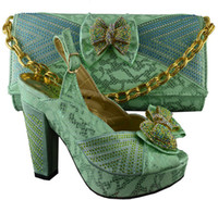 Wholesale Hight Heels Party - Excellent water green african shoes and handbag sets with bowtie beading decoration ladies hight heel shoes B8012,heel 11cm