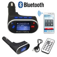 Wholesale Bluetooth Handsfree Car Kit MP3 Music Player Wireless FM Transmitter Radio Modulator USB SD MMC Remote Control for iPhone LG HTC