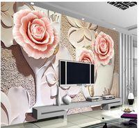 rosas de papel de parede para quarto venda por atacado-Personalizado 3d mural papel de parede tridimensional grande papel de parede mural rose quarto sala de estar sofá 3d foto papel de parede 20155373