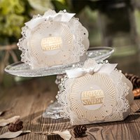 Wholesale Green Ribbon Schools - Cute High Quality Laser Cut Hollow Carriage Baby Shower Favors Boxes Gifts Candy Boxes Favor Holders With Ribbon Wedding Party Supplies