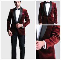 kravat kravat hanky toptan satış-Bordo Kadife Slim Fit Damat Smokin Düğün Custom Made Groomsmen Best Man Balo Siyah Pantolon Suits (Ceket + Pantolon + Papyon + Hanky)