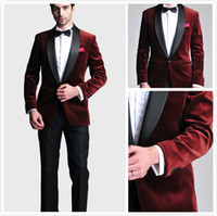 Wholesale Blue Prom Suits - Burgundy Velvet Slim Fit Groom Tuxedos Wedding Suits Custom Made Groomsmen Best Man Prom Suits Black Pants (Jacket+Pants+Bow Tie+Hanky)